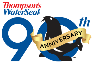 Thompson's Water Seal 90th anniversary logo featuring a cute seal